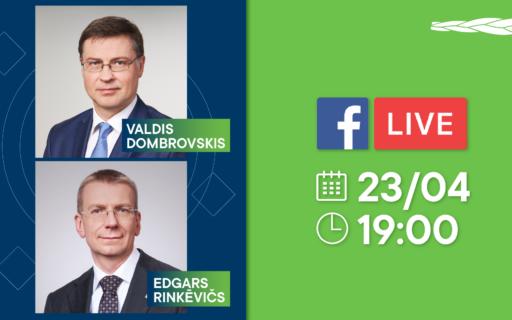 Aicinām uz tiešraides sarunu ar Valdi Dombrovski un Edgaru Rinkēviču
